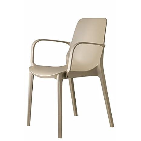 Scab Design - Set 4 sedie Ginevra con braccioli Color Tortora ...