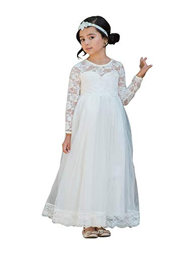 Big Girls Ivory Lace Tulle Open Back Floor Length Junior Bridesmaid Dress 8-10 from Just Couture
