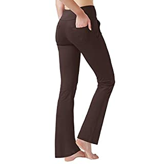 Haining Women's High Waisted Boot Cut Yoga Pants 4 Pockets Workout Pants Tummy Control Women Bootleg Work Pants Dress Pants