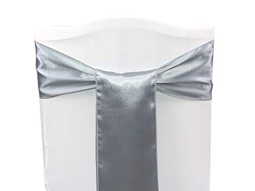 mds Pack of 50 Satin Chair Sashes Bow sash for Wedding and Events Supplies Party Decoration Chair Cover sash - Light Silver ()