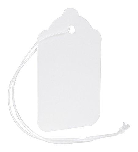 MACO White Strung Merchandise Tags, 7-1-7/16 x 2-5/32 Inches, 1000 Per Box (12-202) ()