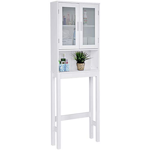 - Giantex Bathroom Over-The-Toilet Space Saver Storage with Shelf and 2-Door Wooden Cabinet, White