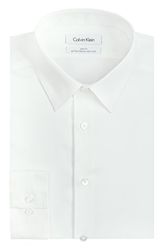 Calvin Klein Men's Slim Fit Non-Iron Herringbone Point Collar Dress Shirt, White, 15.5