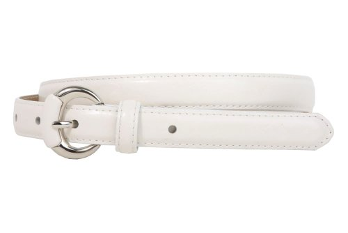 3/4 Inch Semi-covered Stitching Feather Edged Skinny Belt Size: L/XL - 40 Color: White