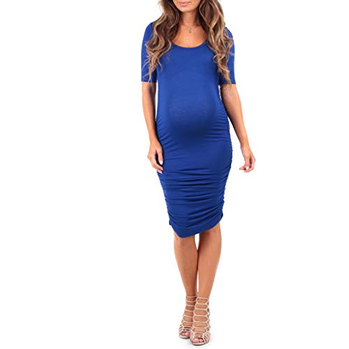 (Women's Ruched Maternity Dress - Made in USA Royal)