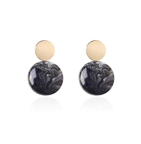 Hogadget Women Acrylic Double Round Drop Earrings Disc Drop Tortoise Earrings Dangle Earrings Statement Resin Rounded Dangle Earring Mottled Round Earrings Fashion Jewelry (Black)