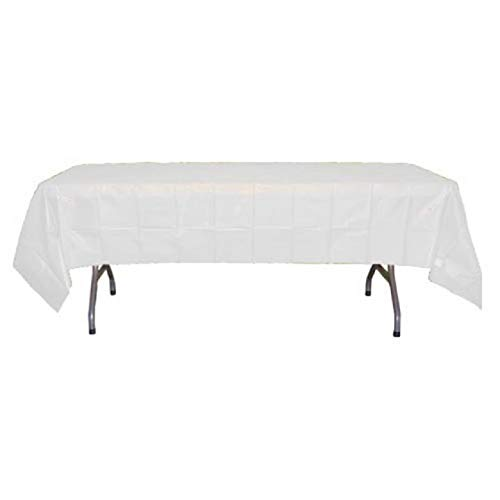 Exquisite 12-Pack Premium Plastic Tablecloth 54 Inch. x 108 Inch. Rectangle Table Cover-White]()