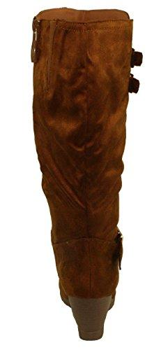 Dbdk Womens Monicay-2 Faux Suede Ronde Neus Buckled Sleehak Mid-kalf Laarzen Camel