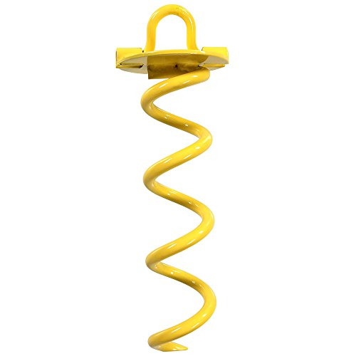 Sunnydaze Outdoor Spiral Ground Anchor with Folding Ring, 10 Inch, Yellow