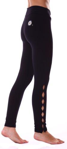 Margarita - Designer Activewear - Black Hot Pant with Cuts Along Legs - Small