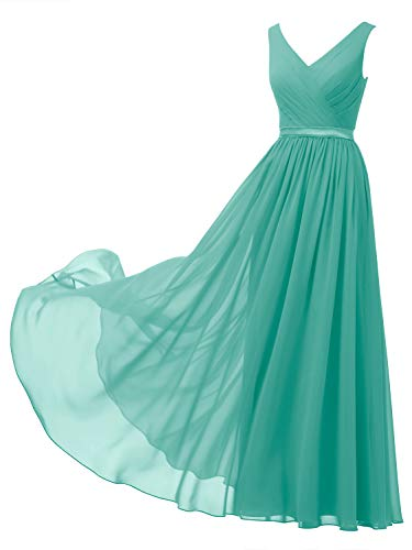 Alicepub V-Neck Chiffon Bridesmaid Dress Long Formal Gown Party Evening Dress Sleeveless, Tiffany, US2