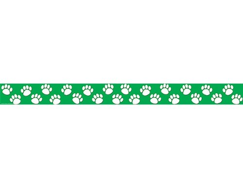 Teacher Created Resources Green with White Paw Prints Straight Border Trim (4552)