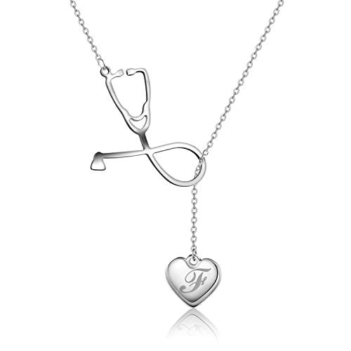- Firsteel Medicine Stethoscope Pendant Necklace Heart 26 A-Z Initial Letters Necklace Doctor Nurse Graduation Gift