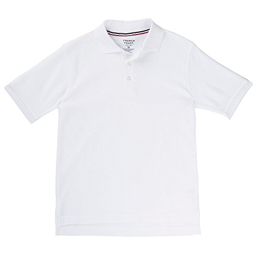 - French Toast Boys' Little Short Sleeve Pique Polo Shirt (Standard & Husky), White S (6/7)
