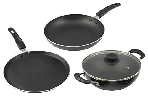 Cresta Aluminium 3 Piece Cookware Set with Lid (Gas Stove Compatible), Sparkle Black Price & Reviews