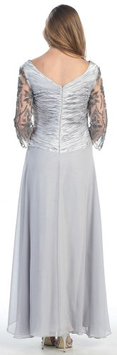Mother of the Bride Formal Evening Dress #552 (XX-Large, Silver)