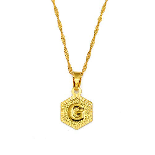 A-Z Letters Gold Color Charm Pendant Necklaces for Women Girls English Initial Alphabet Chain Jewelry Best Gifts,Choose Letter G,60cm
