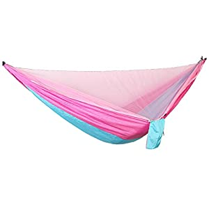 Holshop Portable Outdoor Hanging Bed Sleeping Swingwith Mosquito Net, Camping Mosquito Net Nylon Hanging Bed,Swing Sleeping Hammock with Net for Outdoor, Hiking, Backpacking (Pink)
