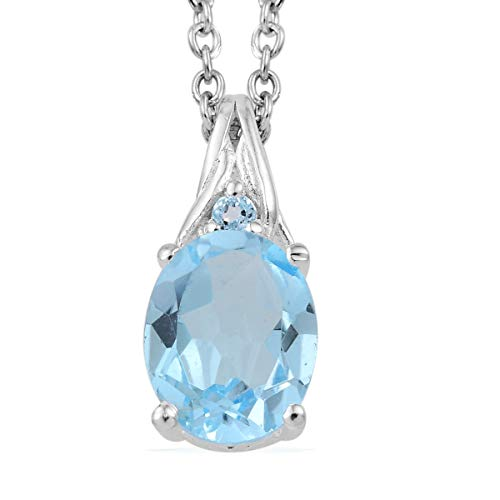Shop LC Delivering Joy Chain Pendant Necklace Oval Sky Blue Topaz Stainless Steel Gift Jewelry for Women Size 20
