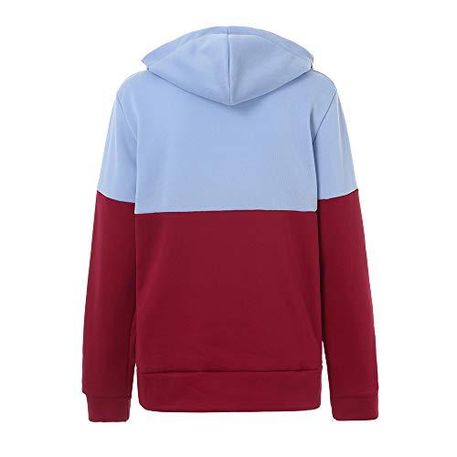Outwear Color Matching Coat Xmira Hooded Size Loose Zipper Red Pocket Plus Sport Sweatshirt Women pqp07