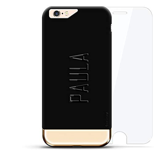 Luxendary Designer, 3D Printed, Fashion, High End, Premium, 360 Degree Protecting Cell Phone Case for iPhone 6/6S Plus - Velvet Black & Gold Paula, Modern Font First Name (Paul Printed)