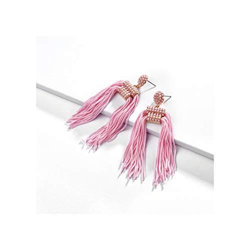 (Bohemia Long Tassel Dangle Earrings for Women Ethnic Trendy Metal Jewelry Multicolor Charm Earrings,Pink)
