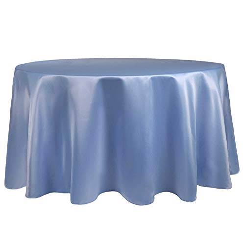 (Ultimate Textile Bridal Satin 60-Inch Round Tablecloth - Fits Tables Smaller Than 60-Inches in Diameter, Periwinkle Blue)