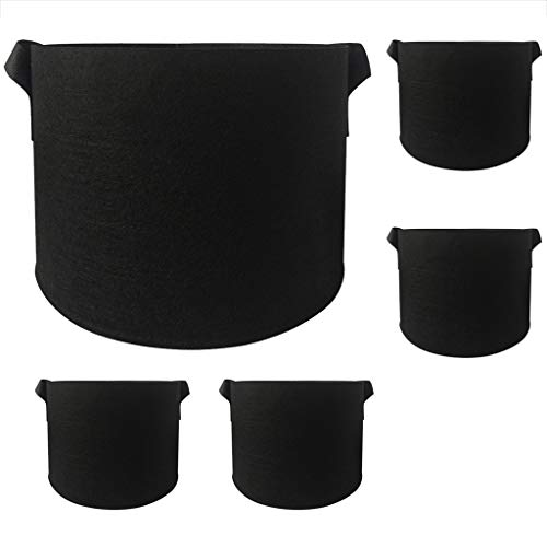 DealinM  Garden Faceplate,Round Fabric Pots Plant Pouch Root Container Grow Bag Aeration Pot Container 5pc Black ()