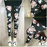 Black Leggings with Roses (One Size)