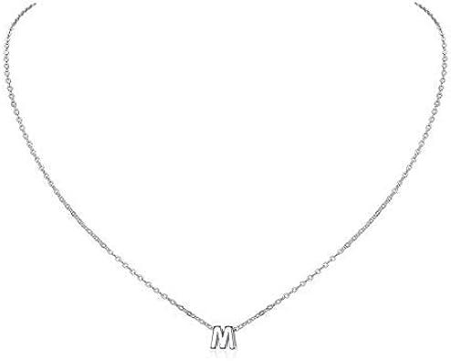 ChicSilver Mini Alfabeto 26 Letras Iniciales Plata de Ley 925 Platino y Oro 18K Collar Elegante para Mujeres y Muchachas Superficie Brillante Joyería Minimalista Preciosa para Madres