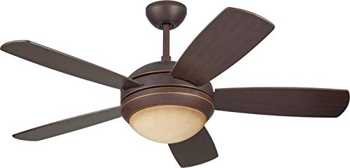 Monte Carlo 5DI44RBD Discus II 44 Ceiling Fan with Light and Pull Chain, 5 Blades, Roman Bronze