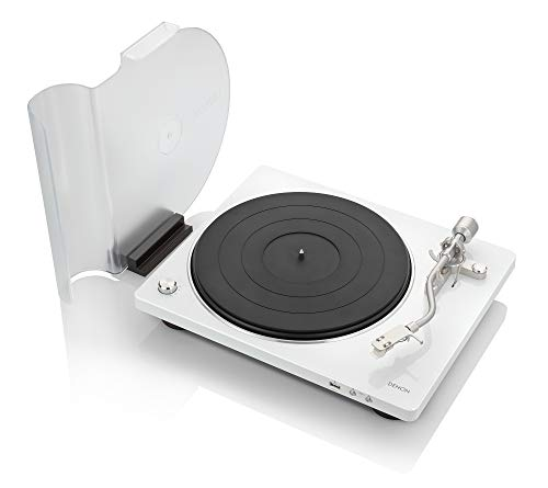 Denon DP-450USB (White) Semi-Automatic Analog Turntable | USB Output for Recording | Speed Auto Sensor | Specially Designed Curved Tonearm | 33 1/3, 45, 78 RPM (Vintage) Speeds