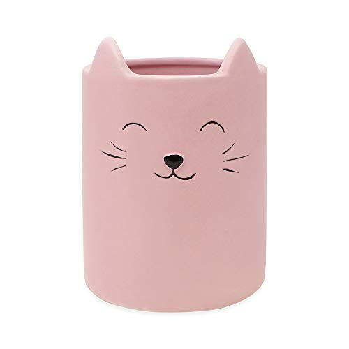 Isaac Jacobs Pink Ceramic Cat Makeup Brush Holder, Multi-Purpose Cup Organizer. Bathroom, Kitchen, Bedroom, Office Décor (Single Cup, Pastel Pink)