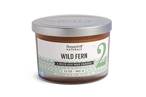 Vineyard Hill Naturals Amber Letterpress 3-Wick Scented Candle, 12-Ounce, Wild Fern