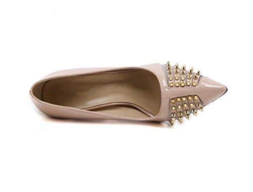 Pointe Toe Court Chaussures Heavy Metal Sharp Rivets Mince Bouche Mince Avec Talons Basse Pour Aider Simple Chaussures , apricot , 40