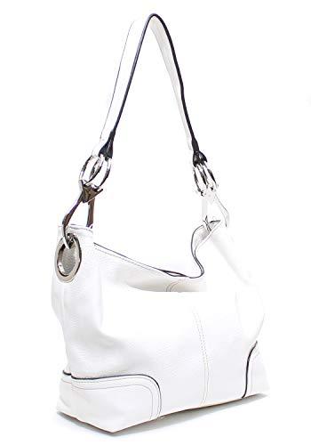 White Leather Handbags - 9