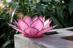 Natural Capiz Shell Pink Flamingo Tea Light Holder plus Free Candle (Pink Flamingo Candle Holder)