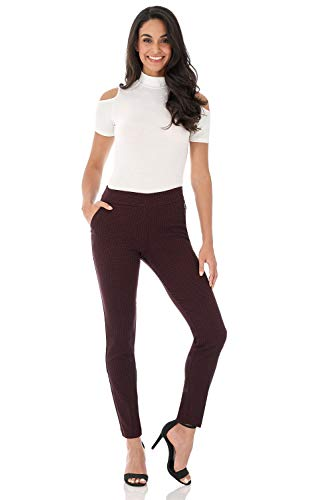 Rekucci Women's Ease in to Comfort Modern Stretch Skinny Pant w/Tummy Control (16,Burgundy/Black Bubble)