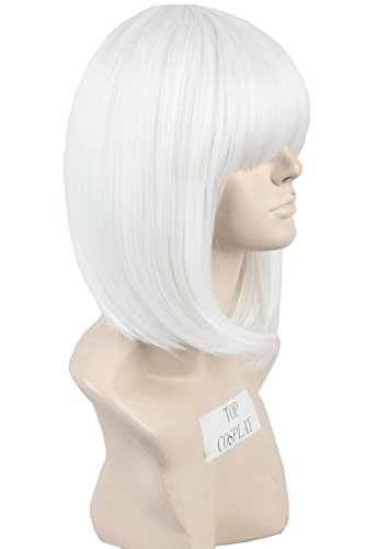 Women Hair Wigs Short White Straight Cosplay Costumes Wig Blunt Cut Bob Wig