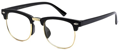 [KIDS Childrens Nerd Retro Half Frame Clear Lens Eye Glasses (Age 3-10) (Black...] (Cheap Nerd Glasses)