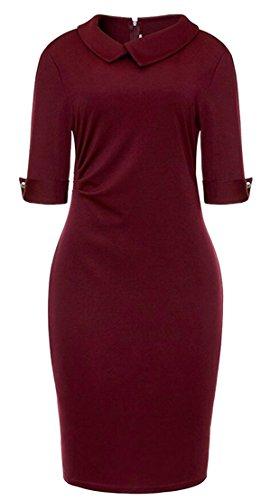 Jaycargogo Femmes Mode Moitié Manches Vin Revers Solide Robe Moulante Couleur Rouge