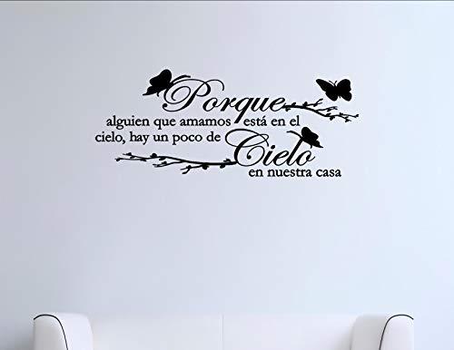 Porque alguien que amamos estra en el cielo... Spanish Vinyl Wall Saying Quote Words Decal - Vinyl Quote Me ()