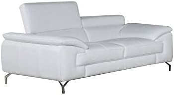 JM Furniture A973 Leather Loveseat in White