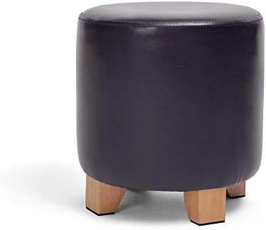 玄関ベンチ ふたラウンドオスマン木製の脚パッド入りの多機能ブラックリビングルームヘビーデューティマックス、150キロでフットスツール靴ベンチソファスツール休憩スツールレザー (Size : 29x29cm)