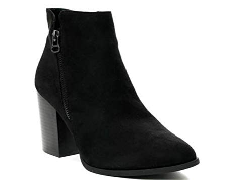 Side Winter Black Definitely Womens Faux Ankle Heel Ladies Shoes Zip Boots Block Suede Size Casual High Chelsea You 4qT6wP