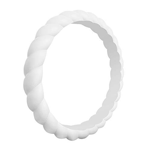 QVOW Silicone Rings for Women, Thin, Affordable and Stackable Rubber Wedding Bands for Athletes, Workout, Fitness, Gym, Exercise, Braided Design, White, 3.0mm Wide, Size: 5 (15.7mm) (Best Affordable Engagement Rings)
