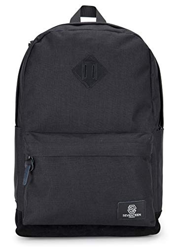 SEVENTEEN LONDON Westminster - Modern Unisex Backpack with a Black Faux Suede Base in a Classic Simple School Design - Fits Laptop up to 15.6