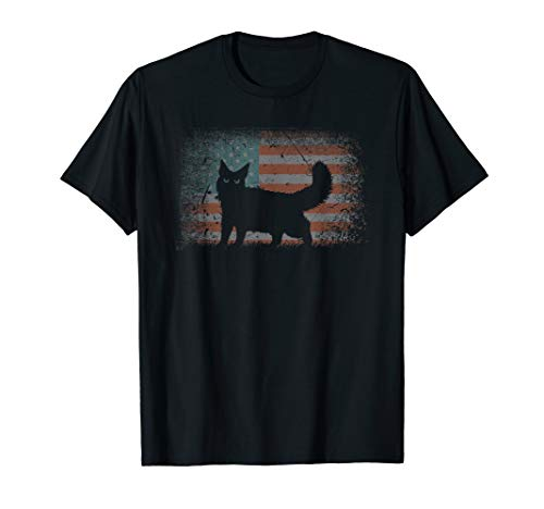 Vintage retro Flag Maine Coon Cat, Best Friends For Life  T-Shirt
