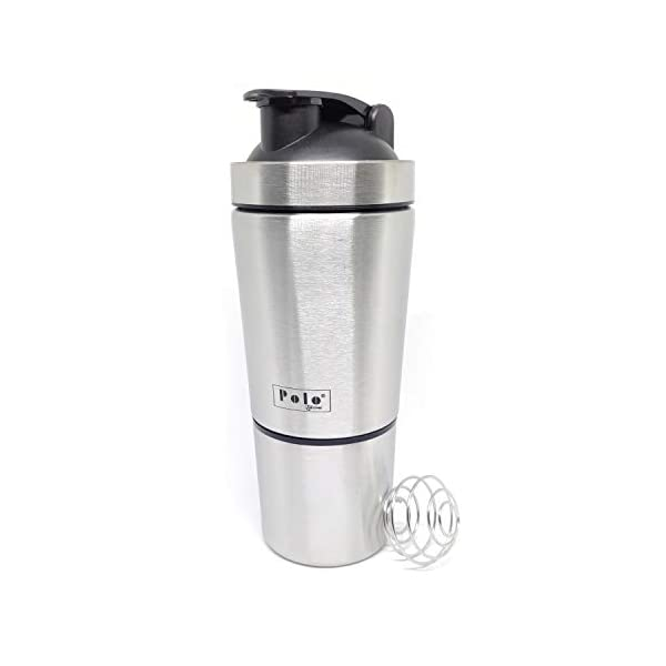 Polo Lifetime Stainless Steel Shaker for Gym with Extra Storage Compartment for Protein Shakes/Smoothies/Supplements… 2021 July Made up of 304 Food Grade Stainless Steel; BPA Free, Unreakable, Sturdy, Rust Proof, Airtight, Leakproof Approx. Capacity of 750 ml (Including 250ml extra compartment for storage at the Bottom) Steel Wire Mixer for an easy and lump free mixing