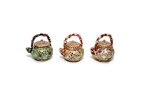 Decorative Enameled Figures, 24K Gold Trinket Jewelry Box with Swarovski Crystal, Hand-made (Teapots)